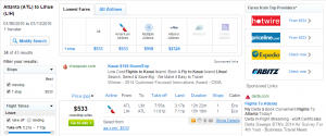 Atlanta to Kauai: Fly.com Booking Page