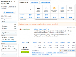 Boston to Las Vegas: Fly.com Results Page