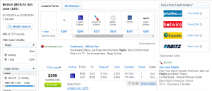 Boston to San Jose: Fly.com Results Page