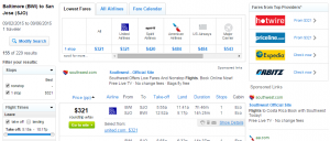 Baltimore to San Jose: Fly.com Results Page