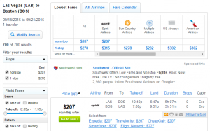 Las Vegas to Boston: Fly.com Results Page