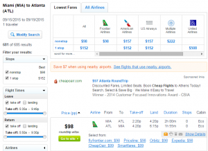 Miami to Atlanta: Fly.com Results Page