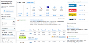 NYC to Charleston: Fly.com Results Page