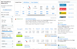 NYC to Detroit: Fly.com Results Page
