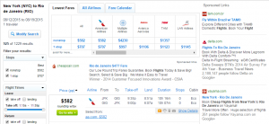 NYC to Rio: Fly.com Results Page
