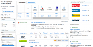 NYC to Savannah: Fly.com Results Page