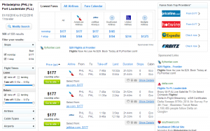 Philadelphia to Fort Lauderdale: Fly.com Results Page