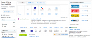 Tampa to Honolulu: Fly.com Results Page