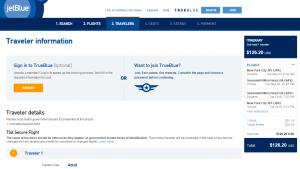 NYC to Savannah: JetBlue Booking Page