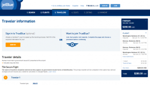 D.C. to Nassau: JetBlue Booking Page