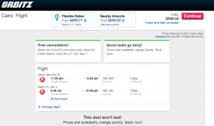 NYC to Cairo: Orbitz Booking Page
