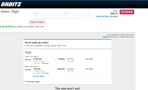 Philly to Miami: Orbitz Booking Page