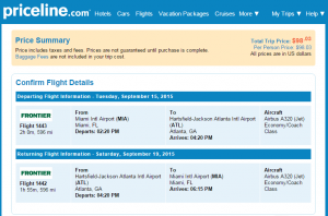Miami to Atlanta: Priceline Booking Page