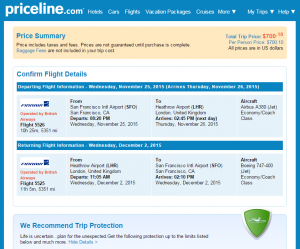 SF to London: Priceline BookingPage