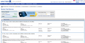 Boston to Honolulu: United Airlines Booking Page