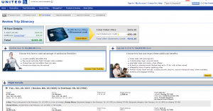 Boston to Portland: United Airlines Booking Page