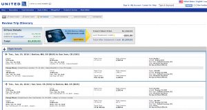 Boston to San Jose: United Airlines Booking Page