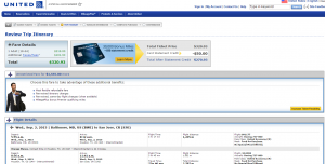 Baltimore to San Jose: United Airlines Booking Page