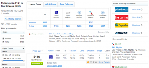 Philly to New Orleans: Fly.com Results Page