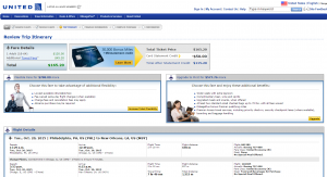 Philly to New Orleans: United Airlines Booking Page