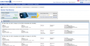Tampa to Honolulu: United Booking Page