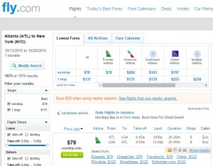 Atlanta to NYC: Fly.com Results