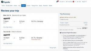 Boston to Las Vegas: Expedia Booking Page