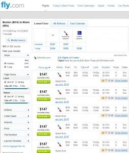 Boston to Miami: Fly.com Results