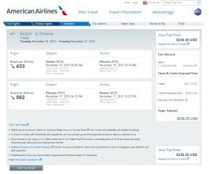 Boston to Phoenix: AA Booking Page