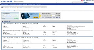 Charlotte to Honolulu: United Booking Page