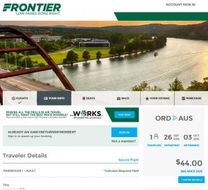 Chicago-Austin: Frontier Booking Page