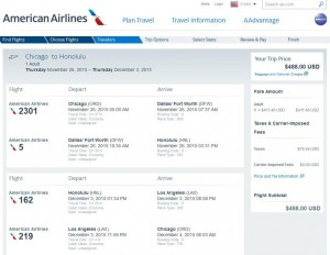 Chicago-Honolulu: American Airlines Booking Page
