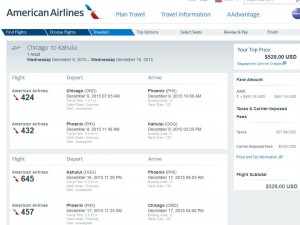 Chicago-Kahului, Maui: American Airlines Booking Page