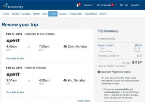 Chicago-Los Angeles: Travelocity Booking Page