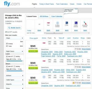 Chicago-Rio de Janeiro: Fly.com Search Results