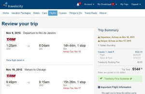 Chicago-Rio de Janeiro: Travelocity Booking Page