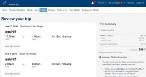 Chicago-San Diego: Travelocity Booking Page