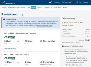 Chicago-San Francisco: Travelocity Booking Page