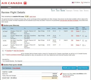 Chicago-Sao Paulo: Air Canada Booking Page