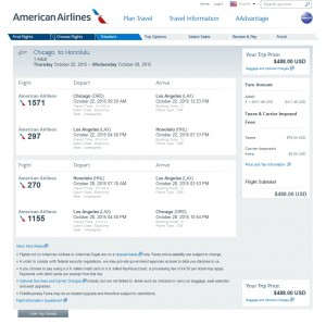 Chicago to Honolulu: AA Booking Page