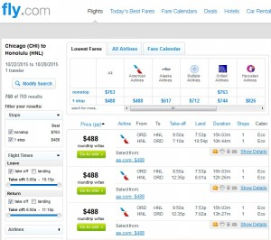 Chicago to Honolulu: Fly.com Results