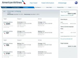 Cincinnati-Beijing: American Airlines Booking Page
