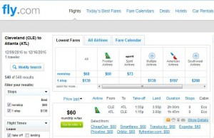 Cleveland-Atlanta: Fly.com Search Results