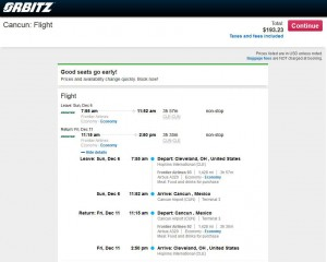 Cleveland-Cancun: Orbitz Booking Page