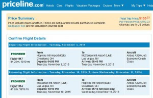 Cleveland-Las Vegas: Priceline Booking Page