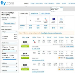 Cleveland-Miami: Fly.com Search Results