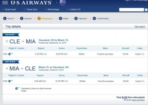 Cleveland-Miami: US Airways Booking Page