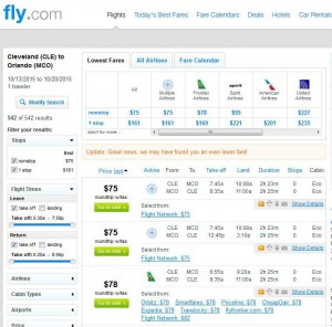 Cleveland-Orlando: Fly.com Search Results