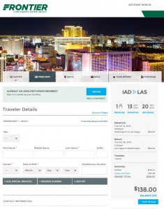 Washington, D.C. to Las Vegas: Frontier Booking Page