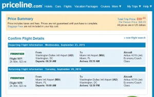 D.C. to Miami: Priceline Booking Page